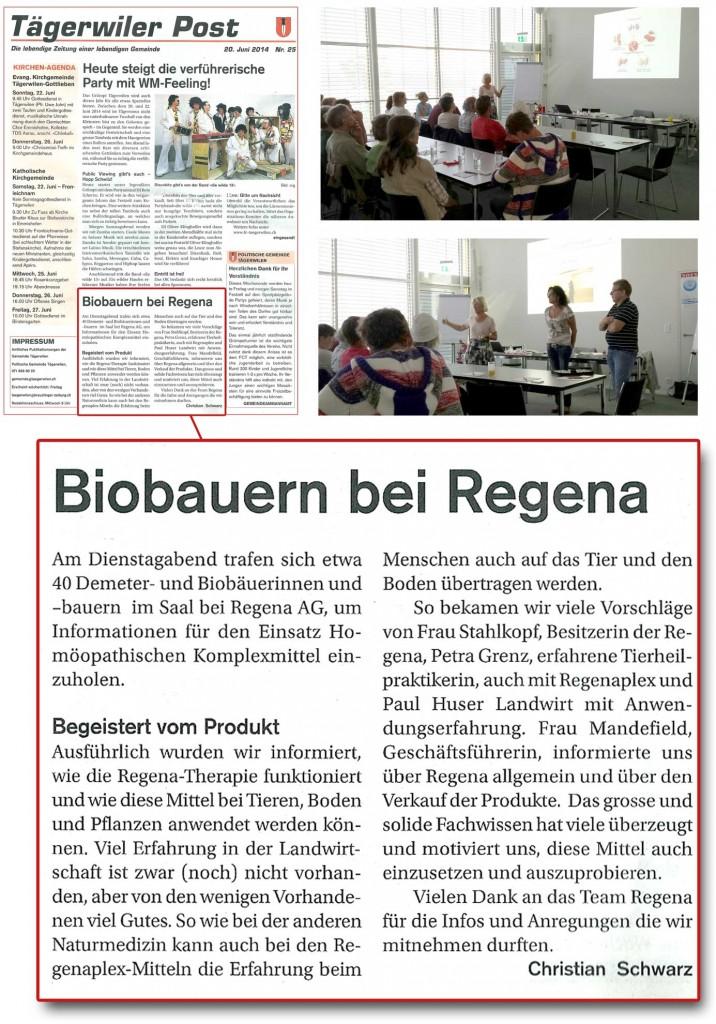 Biobauern bei Regena (Tagerwiler Post Nr. 25 - 20 Juni 2014)